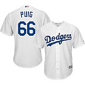 Majestic Men's Replica Los Angeles Dodgers Yasiel Puig #66 Cool Base Home White Jersey
