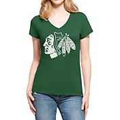 '47 Women's St. Patty's Day Chicago Blackhawks Club Logo V-Neck T-Shirt