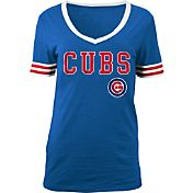 5th & Ocean Women's Chicago Cubs Chenille Royal V-Neck T-Shirt