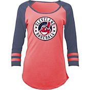 5th & Ocean Women's Cleveland Indians Red Tri-Blend Three-Quarter Sleeve Shirt