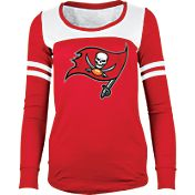 5th & Ocean Women's Tampa Bay Buccaneers Glitter Red Long Sleeve Shirt