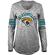 5th & Ocean Women's Jacksonville Jaguars Space Dye Black Long Sleeve Shirt