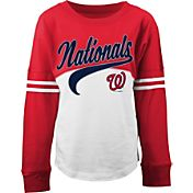 5th & Ocean Youth Girls' Washington Nationals White/Red Three-Quarter Sleeve Shirt