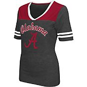 Colosseum Athletics Women's Alabama Crimson Tide Grey Twist V-Neck T-Shirt