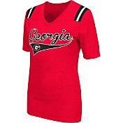 Colosseum Athletics Women's Georgia Bulldogs Red Artistic V-Neck T-Shirt