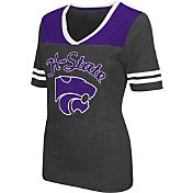 Colosseum Athletics Women's Kansas State Wildcats Grey Twist V-Neck T-Shirt