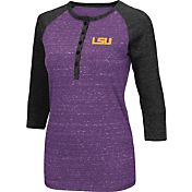 Colosseum Women's LSU Tigers Purple Three-Quarter Sleeve Henley Shirt