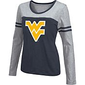 Colosseum Athletics Women's West Virginia Mountaineers Blue Leap Scoop Neck Long Sleeve Shirt