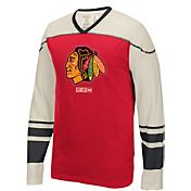 CCM Men's Chicago Blackhawks Applique Red/Black Long Sleeve T-Shirt