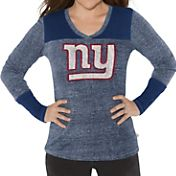 G-III for Her Women's New York Giants Goal Line Blue Long Sleeve Shirt
