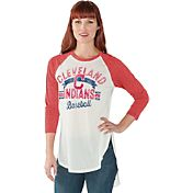 Touch by Alyssa Milano Women's Cleveland Indians Red Tailgate Three-Quarter Sleeve Shirt