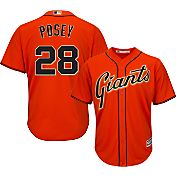 Majestic Men's Replica San Francisco Giants Buster Posey #28 Cool Base Alternate Orange Jersey