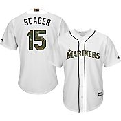 Majestic Men's Replica Seattle Mariners Kyle Seager #15 2016 Memorial Day Cool Base Home White Jersey