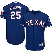 Majestic Men's Authentic Texas Rangers Jonathon Lucroy #25 Alternate Royal Flex Base On-Field Jersey