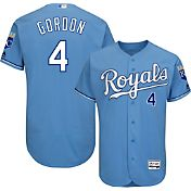 Majestic Men's Authentic Kansas City Royals Alex Gordon #4 Alternate Light Blue Flex Base On-Field Jersey