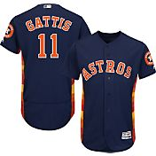 Majestic Men's Authentic Houston Astros Evan Gattis #11 Alternate Navy Flex Base On-Field Jersey