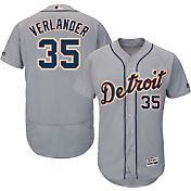 Majestic Men's Authentic Detroit Tigers Justin Verlander #35 Road Grey Flex Base On-Field Jersey
