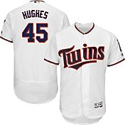 Majestic Men's Authentic Minnesota Twins Phil Hughes #45 Home White Flex Base On-Field Jersey