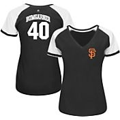 Majestic Women's San Francisco Giants Madison Bumgarner #40 Black/White Raglan V-Neck T-Shirt