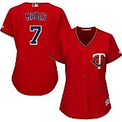 Majestic Women's Replica Minnesota Twins Joe Mauer #7 Cool Base Alternate Red Jersey