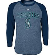 Majestic Youth Seattle Mariners Navy Raglan Long Sleeve Shirt