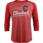 Majestic Threads Men's Cleveland Indians Red Raglan Three-Quarter Shirt