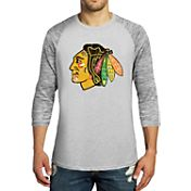 Majestic Threads Men's Chicago Blackhawks Charcoal Marble 3/4 Sleeve Raglan T-Shirt