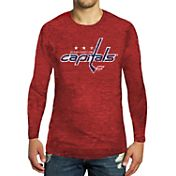 Majestic Threads Men's Washington Capitals Red Tri-Blend Long Sleeve T-Shirt