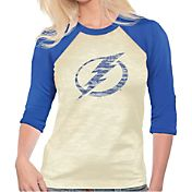Majestic Threads Women's Tampa Bay Lightning Three-Quarter Raglan Sleeve T-Shirt