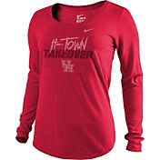 Nike Women's Houston Cougars Red 'H-Town Takeover' Tri-Blend Scoop Long Sleeve Shirt