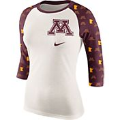 Nike Women's Minnesota Golden Gophers Cream/Maroon Veer Tri-Blend Three-Quarter Raglan Shirt