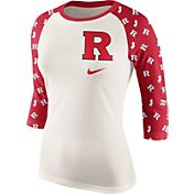 Nike Women's Rutgers Scarlet Knights Cream/Scarlet Veer Tri-Blend Three-Quarter Raglan Shirt
