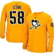 Reebok Men's 2017 NHL Stadium Series Pittsburgh Penguins Kris Letang #58 Long Sleeve Player Gold T-Shirt