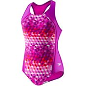 Speedo Girls' Illusion Cubes Racer Back Swimsuit