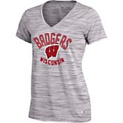 Under Armour Women's Wisconsin Badgers Grey UA Space Tech V-Neck T-Shirt