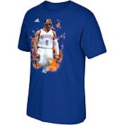 adidas Men's Oklahoma City Thunder Russell Westbrook Fired-Up Blue T-Shirt