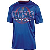 Champion Men's Kansas Jayhawks  Blue Impact Basketball T-Shirt