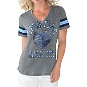 G-III For Her Women's Sporting KC Triple Play Grey T-Shirt