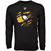 Levelwear Men's Pittsburgh Penguins Ripped Logo Black Long Sleeve T-Shirt