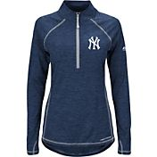 Majestic Women's New York Yankees Cool Base Navy Half-Zip Pullover