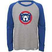 Majestic Youth Chicago Cubs Cooperstown Grey/Royal Raglan Three-Quarter Sleeve Shirt