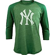 Majestic Threads Men's New York Yankees St. Patrick's Day Green Raglan Three-Quarter Shirt
