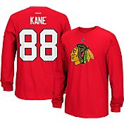 Reebok Men's Chicago Blackhawks Patrick Kane #88 Long Sleeve Player Red Long Sleeve T-Shirt